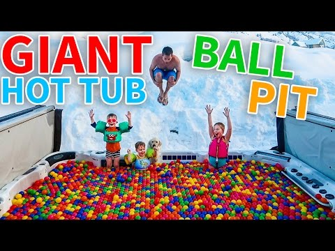 SWIMMING IN A GIANT HOT TUB BALL PIT!