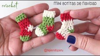 MIni botitas o medias de Navidad tejidas a crochet en 5 minutos  - Tejiendo Perú