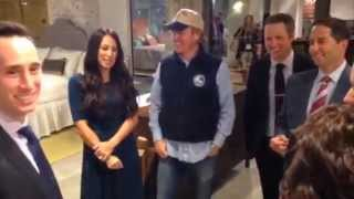 hgtv s chip and joanna gaines talk to crowd at their magnolia home reveal during high point market