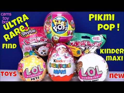 Surprise Toys ULTRA RARE LOL PETS Glitter Pikmi Pops KINDER MAXI Shopkins Squish Dee Lish 2 Opening