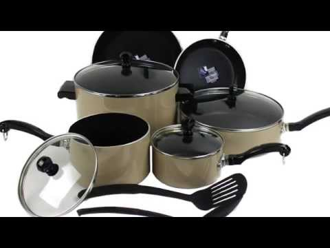 Farberware 12471 12 Piece Kitchen Nonstick Enamel Cookware Set - Camel