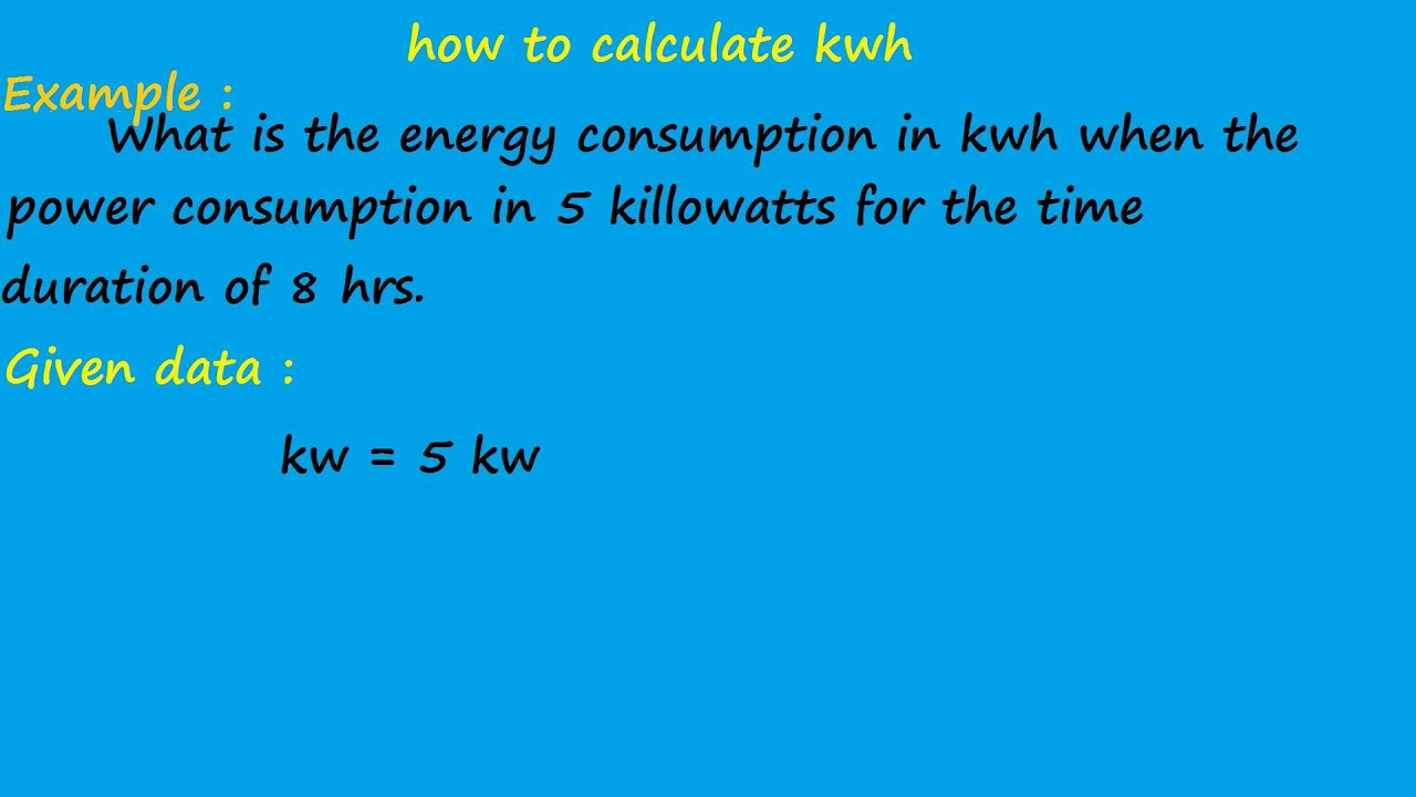 How To Calculate Kwh   Electrical Formulas   YouTube