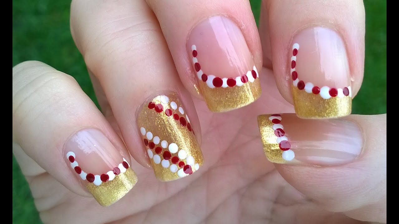 Two easy CHRISTMAS nail art designs! DIY Gold DOTTICURE NAILS for ...