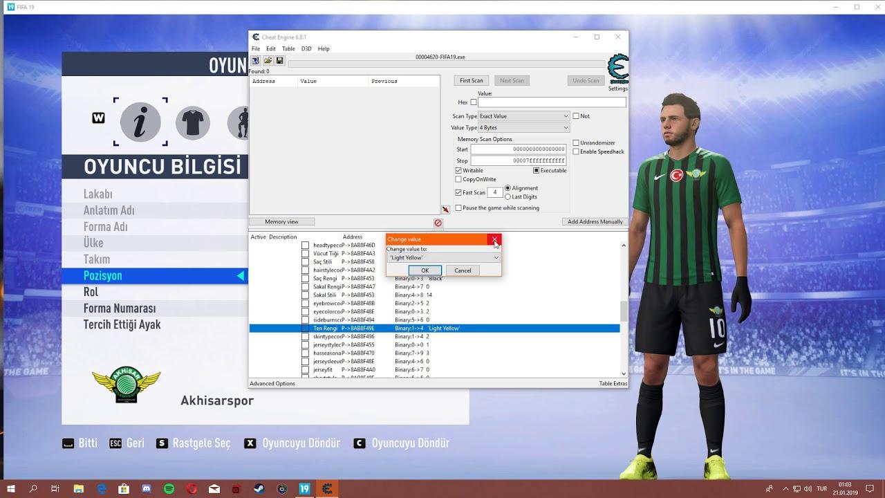 FIFA 19   Cheat Table ile Düzenlemeler