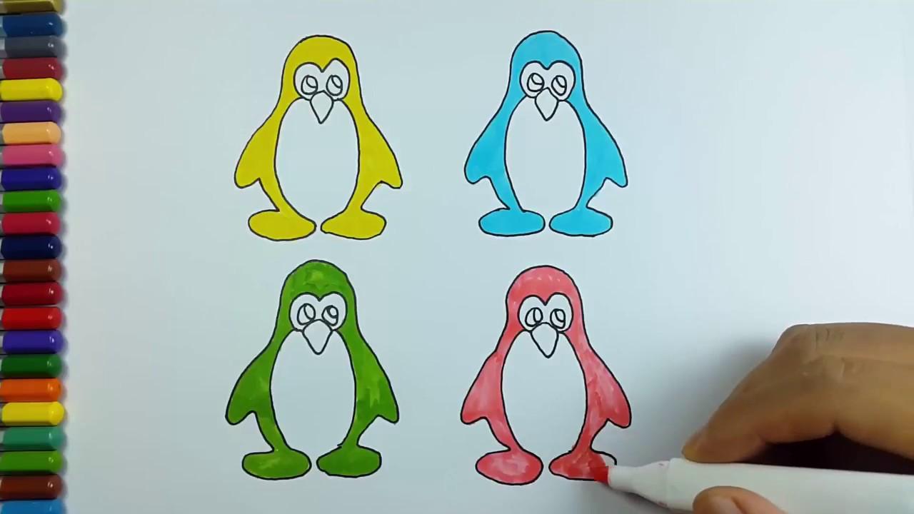 Cara Mewarnai & Menggambar Pinguin