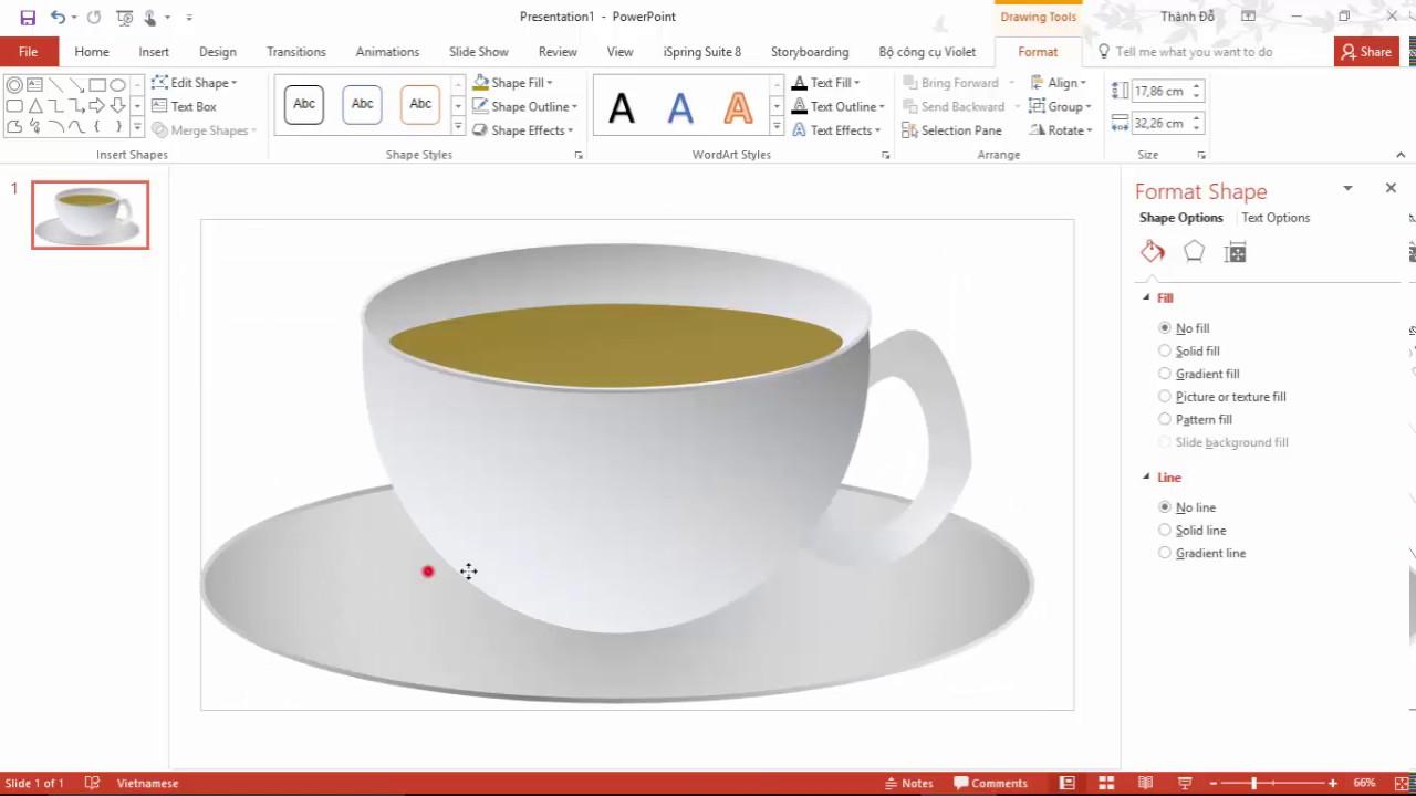 PowrPoint 2016: Vẽ tách cafe 3D – Export ảnh ra file .PNG