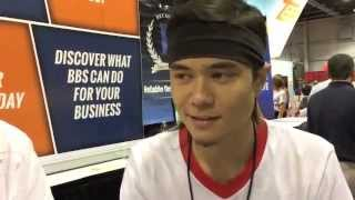 Competitive eater Matt Stonie visits the National Sports Collectors Convention with Blowout Cards