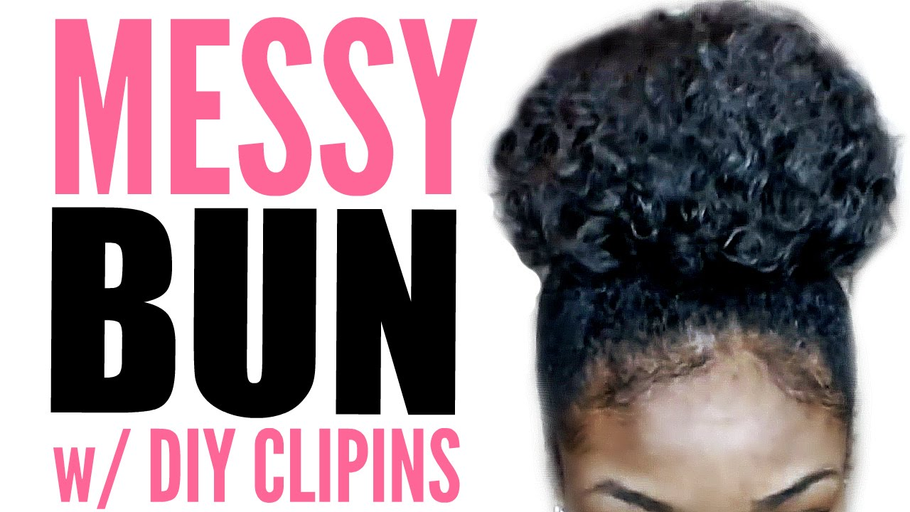High Messy Bun Tutorial For Natural Hair W Diy Clip Ins Youtube
