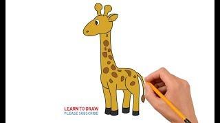 giraffe easy drawing draw step drawings giraff paintingvalley