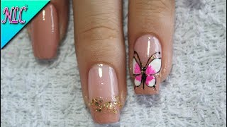 Uñas Con Mariposas Y Flores