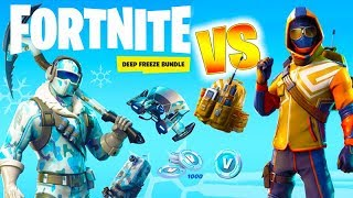 Fortnite DEEP FREEZE BUNDLE VS new STARTER PACK Skins Dance Battle