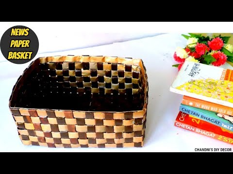 DIY Newspaper Basket || How to Make a Basket or Organizer From Newspaper || Newspaper Craft Ideas ||