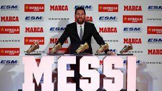 ميسي يفوز بجائزة الحذاء الذهبي للمرة الخامسة ويسجل رقماً قياسياً جديداً…