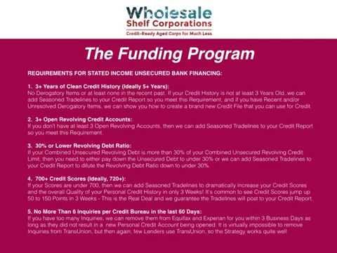 Wholesale Shelf Corporations Funding Program: Get Funded thi