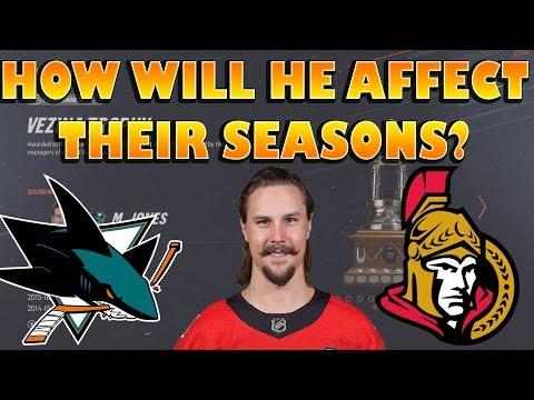 How The Senators/Sharks Will Finish The Season post Karlsson Trade NHL 19