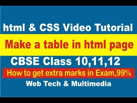 how to make table in html web page video tutorial training in Hindi