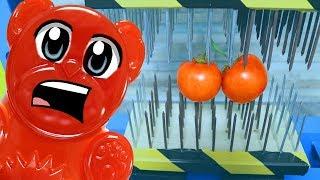 EXPERIMENT - Lucky Bär und die Nagelbrett Presse gegen Gesunde Tomaten