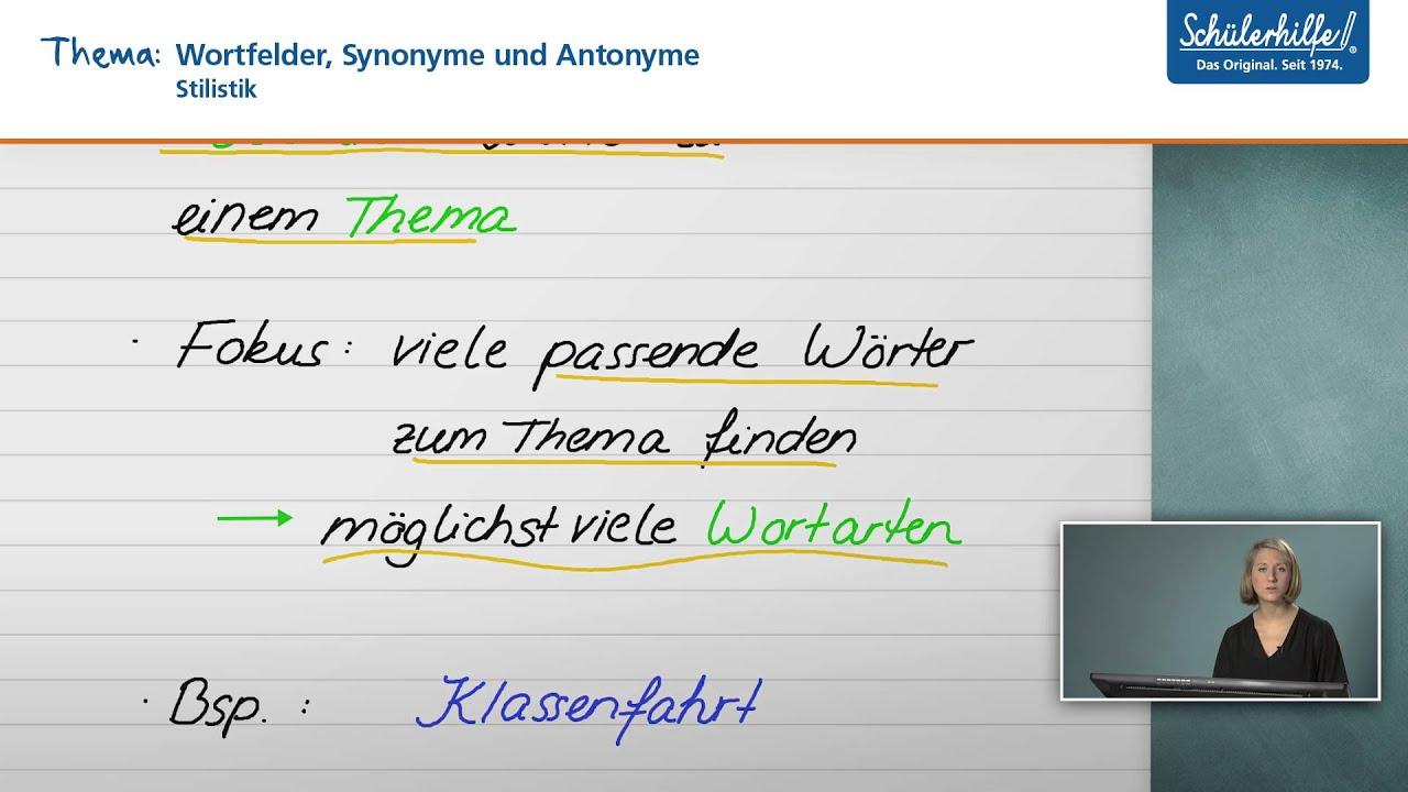 wortfelder stilistik deutsch schlerhilfe lernvideo - Wortfelder Beispiele