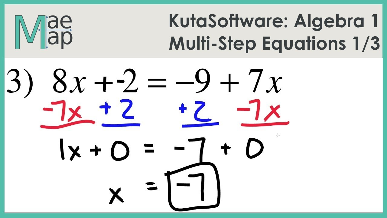 Kutasoftware Algebra 1 Multi Step Equations Part 1 Youtube