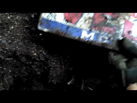 Bottle digging dug up a IRVING GAS AND OIL PORCELAIN SIGN