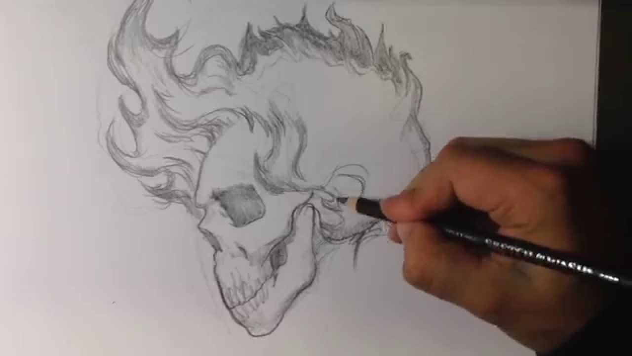How To Draw A Skull With Fire Hair Tattoo