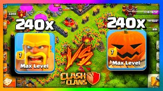 PUMPKIN BARBARIANS VS BARBARIANS Who Is Better? Clash of Clans Halloween Olympics