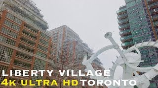 Toronto Liberty Village (walking tour 4k) during snowstorm