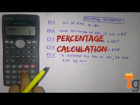 How to calculate percentage on calculator using percentage button.