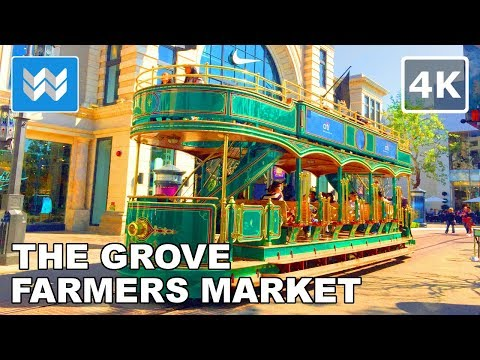 Walking From Farmers Market To The Grove In Los Angeles, California 【4K】