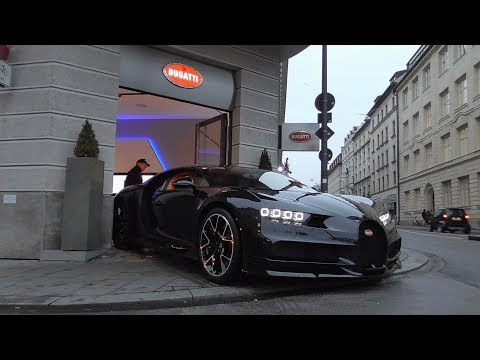 Bugatti Chiron arrives at Munich dealership, Veyron leaves! | Driving on the Road, Start Up, Carporn