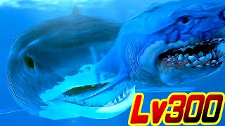 戦闘力2000万の巨大サメ!! Lv300のイタチザメがメガロドンをまる飲みに…