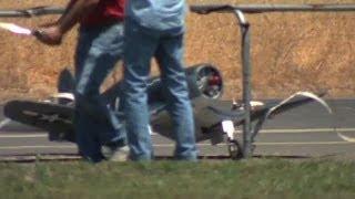rc f4u corsair crash a beautiful landing turns into a hideous wreck at sccmas