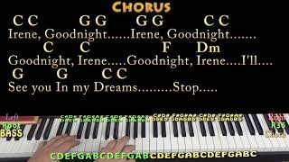 Goodnight, Irene (Traditional) Piano Cover Lesson in C with Chords/Lyrics - Blocking