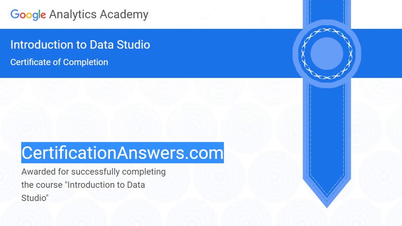 Introduction to Data Studio Certification Exam Assessment