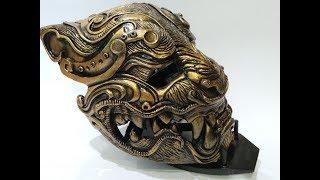 как сделать маску своими руками. Тигр самурай
