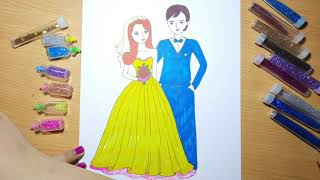 Vẽ cô dâu và chú rể l Vẽ đám cưới l How to draw Bride and Groom