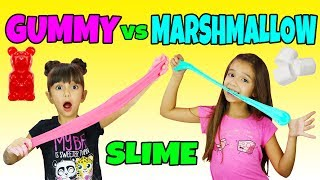 GUMMY vs MARSHMALLOW EDIBLE SLIME CHALLENGE - Giant Gummy Candy Slime without Borax or Glue! DIY