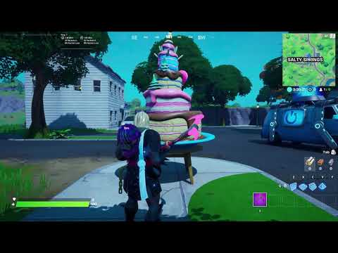 Dance in front of different birthday cakes - all birthday cake fortnite locations