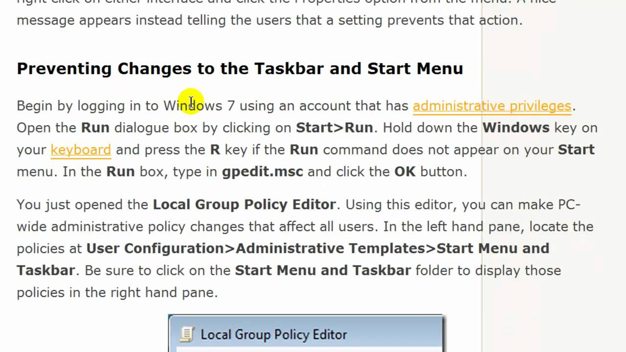Windows 7 open local group policy editor - Prevent Changes To Taskbar And Start Menu Settings In Windows 7