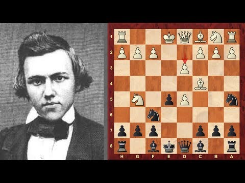 Exciting chess game: Riviere vs Paul Morphy : Paris (1863)  Italian Game: Two Knights Defense