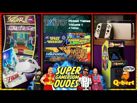 Arcade1UP Partycades! TAITO Pinball! Switch OLED! Q*Bert! Skyward Sword, VR, & More! from Super GameRoom Dudes