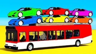 Farbe Auto auf Bus & Spiderman Cars, Cartoon, für Kinder & Lernen Farben für Kinder-Kinderreime-Lieder