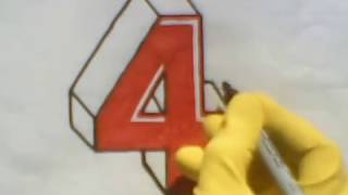 How To Draw Number 4 Four In 3D Part 2  step by step tutorial learn teach letters