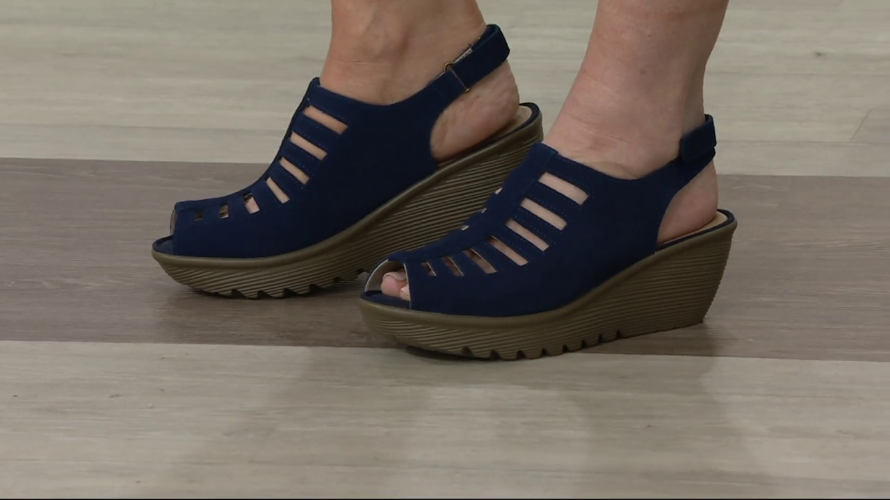 71ec9c7d678 Skechers Suede Peep-toe Sling-back Wedges - Trapezoid on QVC - YouTube