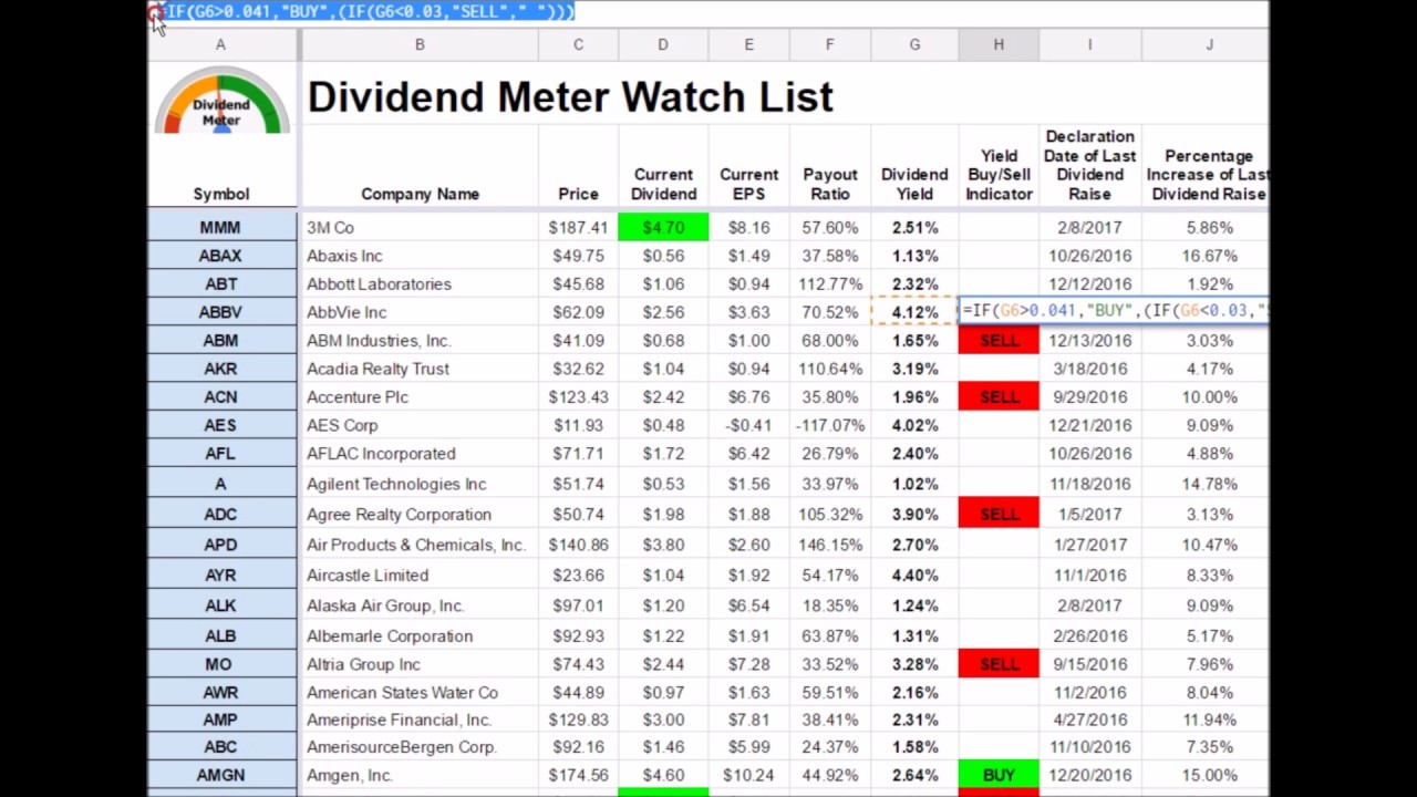 The Ultimate Stock Investing Watch List Spreadsheet
