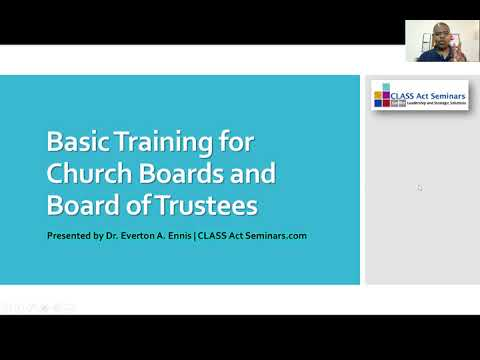 Basic Training for Church Boards and Boards of Trustees