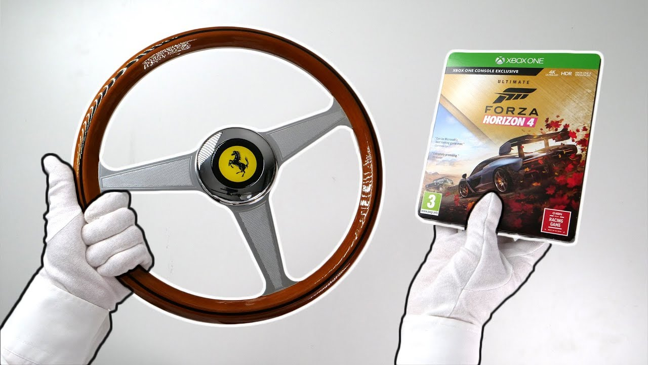 unboxing vintage ferrari racing wheel and forza horizon 4. Black Bedroom Furniture Sets. Home Design Ideas
