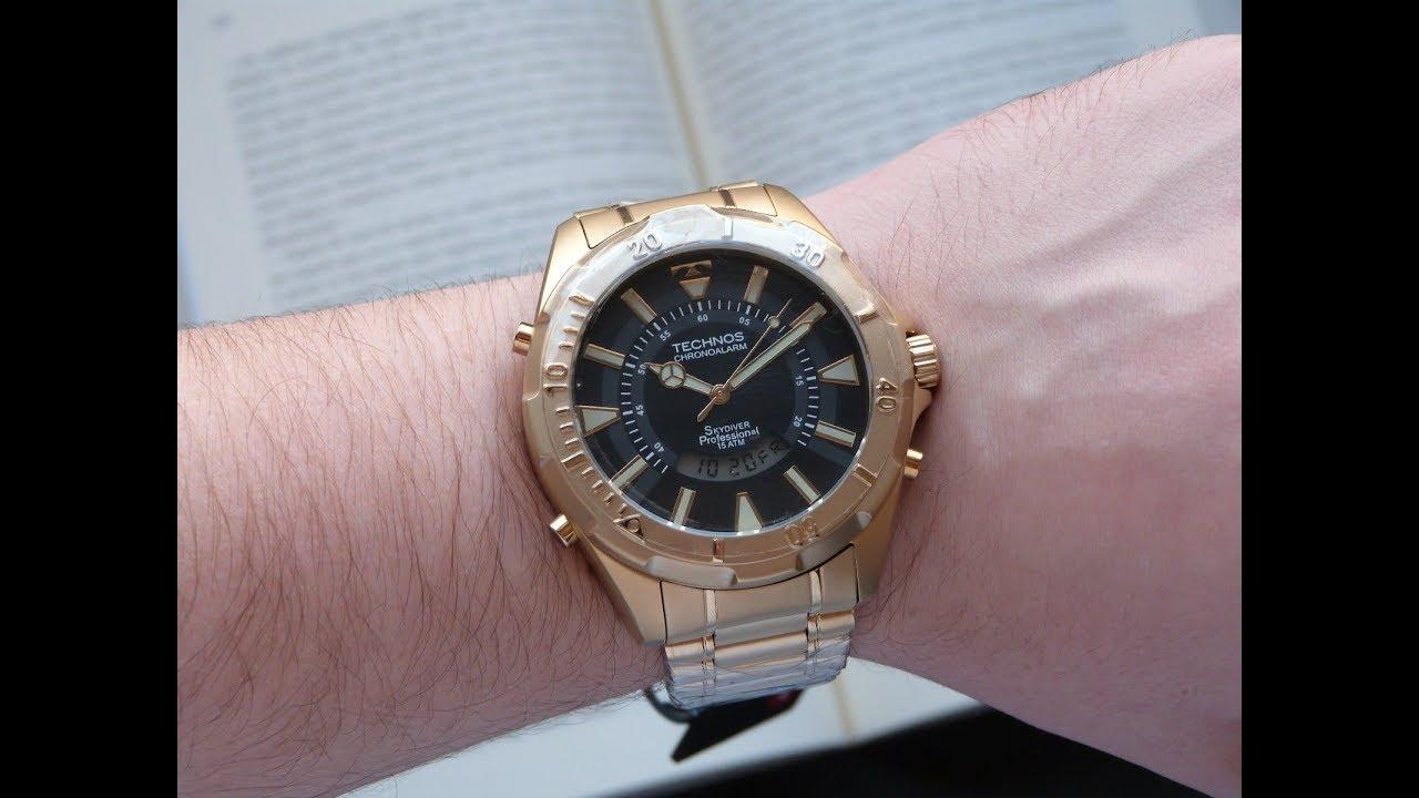 Relógio Technos Skydiver Dourado T205FL 4P Grande 30 anos - YouTube f32fbfeed6