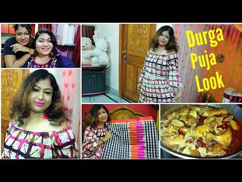 Puja Special vlog-Wearing my new Stylish Gown, Saree, Kurti & Cosmetics Makeup/Dinner-Chicken Curry streaming vf