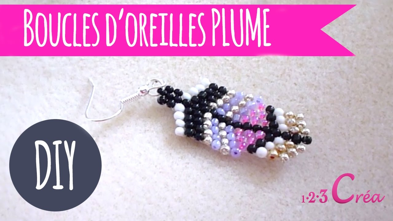 diy boucles d 39 oreilles plume en perle de rocailles etape par tape par les cr ations de cam. Black Bedroom Furniture Sets. Home Design Ideas